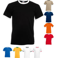 Mens Fruit of the Loom 100% Cotton Ringer Crew Neck Short Sleeve T Shirt Top