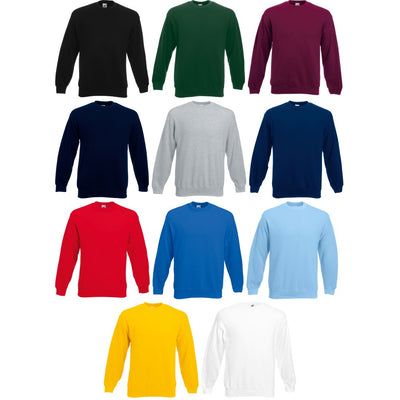 Mens Fruit of the Loom Classic Cotton Rich Set-In Plain Sweatshirt Top