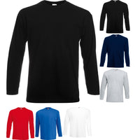 Mens Fruit of the Loom Value Weight Long Sleeve 100% Cotton T Shirt Top