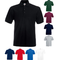 Mens Fruit of the Loom Heavy Weight Polyester Rich Polo Neck Collar Shirt Top