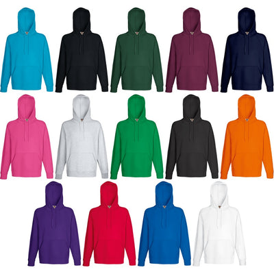 Mens Fruit of the Loom Light Weight Cotton Rich Hoodie Hooded Sweat Top