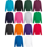 Mens Fruit of the Loom Light Weight Raglan Cotton Rich Sweatshirt Top