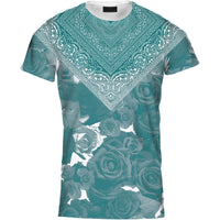 Mens Tshirt Bandana Rose Teal Design