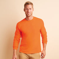 Mens Adult Gildan Ultra Cotton Long Sleeve Rib Cuff Colour Plain T shirt Top