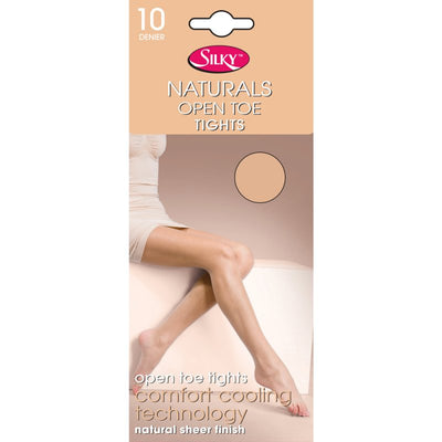 1 x Ladies Women Silky 10 Denier Natural Fresh Comfort Open Toe Tights