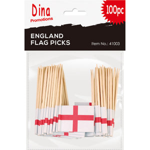 100 x Mini England St George Flag on Cocktail Stick Tooth Pick Decoration