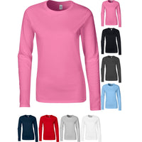 Ladies Women Gildan Softstyle Ringspun Cotton Plain Long Sleeve T Shirt Top