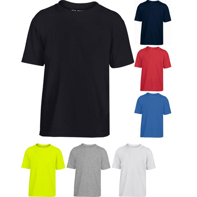 Kid Children Gildan Performance Short Sleeve Polyester Jersey Knit T Shirt Top