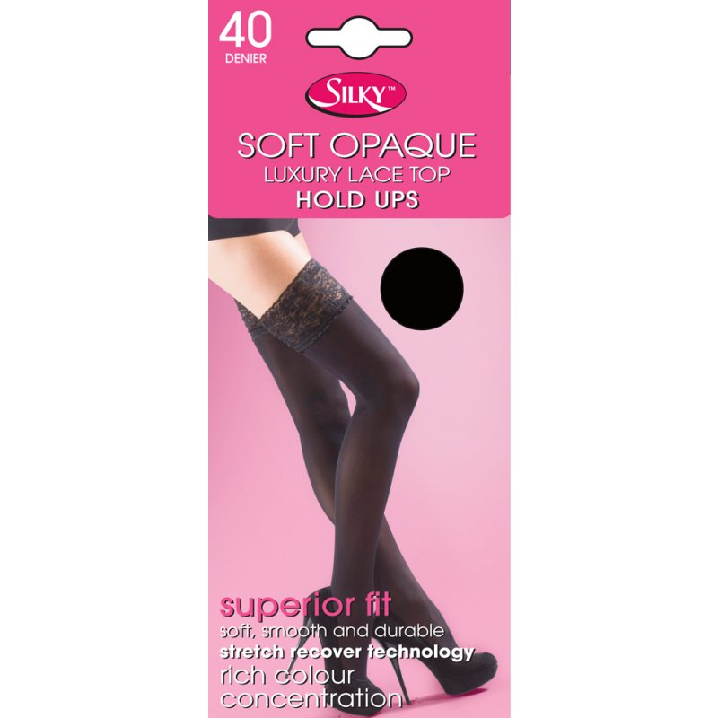 1 x Ladies Women Silky 40 Denier Soft Opaque Winter Warm Lace Top Hold Ups