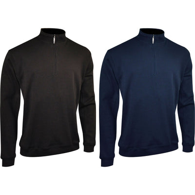 Mens Glenmuir 100% Cotton Interlock Slipover Zip Neck Top Silicone Finish