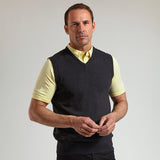 Mens Glenmuir Cotton Interlock V Neck Slipover Zip Neck Sleeveless Top Sweater