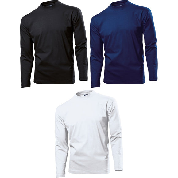 Mens Heavy Weight 100% Cotton Long Sleeve T Shirt Top