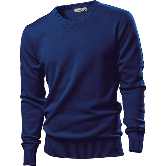 Mens Hanes V Neck Cotton Rich Long Sleeve Rib Knit Pullover Sweater Top