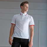 Mens Henbury Polyester Cotton Tipped Polo Neck Stand Up Collar T Shirt Top