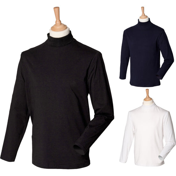 Mens Henbury Cotton Rich Tight Long Sleeve Roll Neck Top