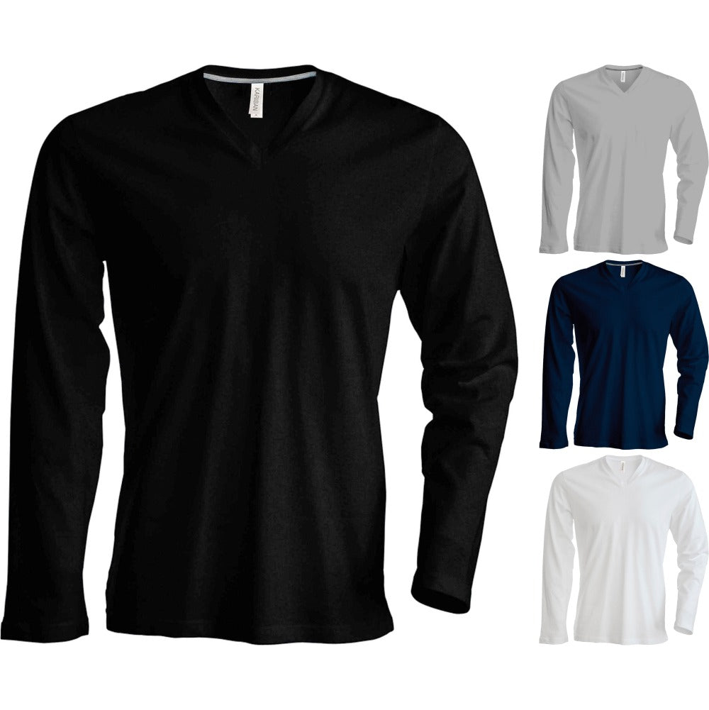 Adult Unisex Men Women Kariban Long Sleeve V Neck Slim Fit Cotton T Shirt Top