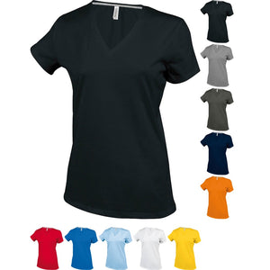 Ladies Women Kariban Short Sleeve 100% Cotton V Neck Plain Colour T Shirt Top
