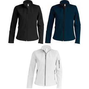 Ladies Women Kariban Contemporary Water Resistant Softshell Full Zip Jacket Top