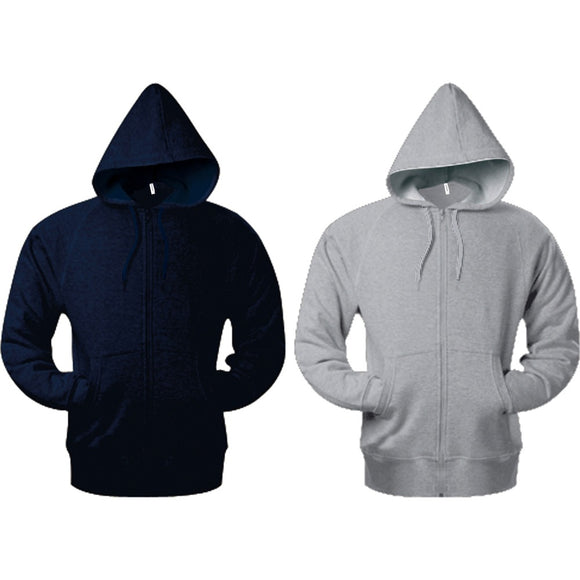 Mens Kariban Full Zip Hooded Hoodie Sweat French Cotton Rich Terry Top