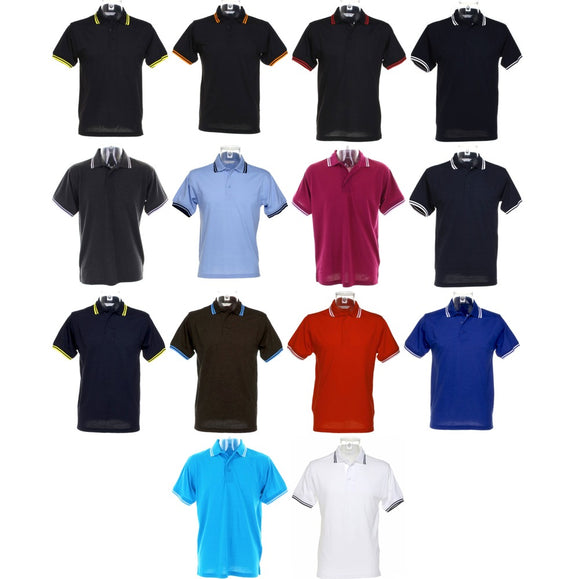 Mens Kustom Kit Tipped Collar Polo Neck Collar Neck Shirt Top