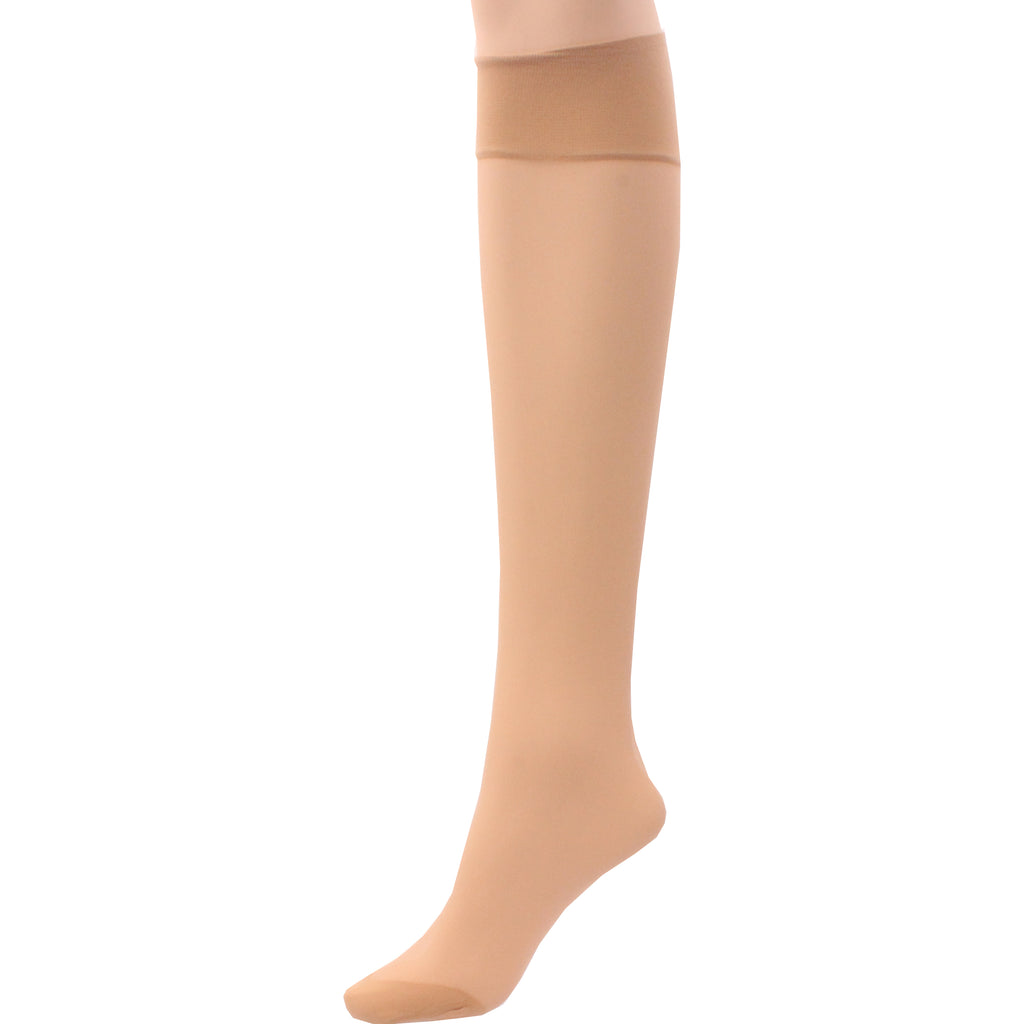 6 x Ladies / Women 100% Nylon Knee High Pop Socks with Comfort Top