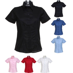 Ladies Women Kustom Kit Workplace Oxford Blouse Short Sleeve Cotton Rich Shirt