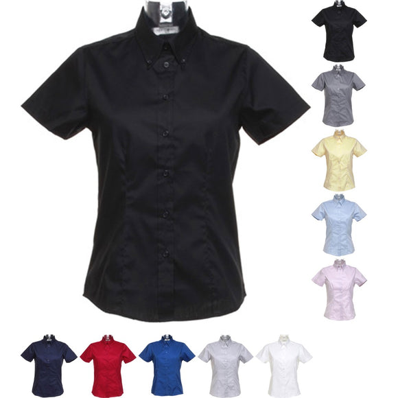 Ladies Women Kustom Kit Corporate Oxford Blouse Short Sleeve Cotton Rich Shirt