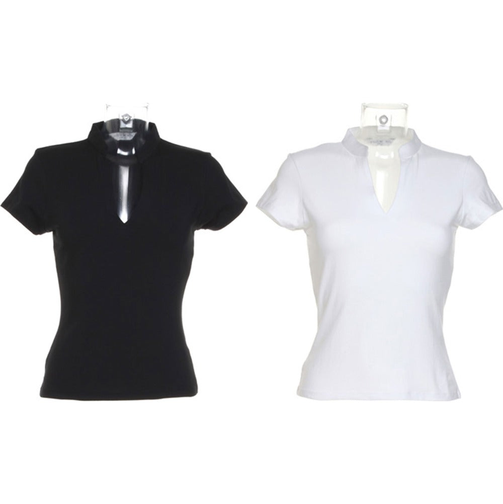 Ladies Women Kustom Kit Corporate Short Sleeve V Neck Mandarin Collar Cotton Top