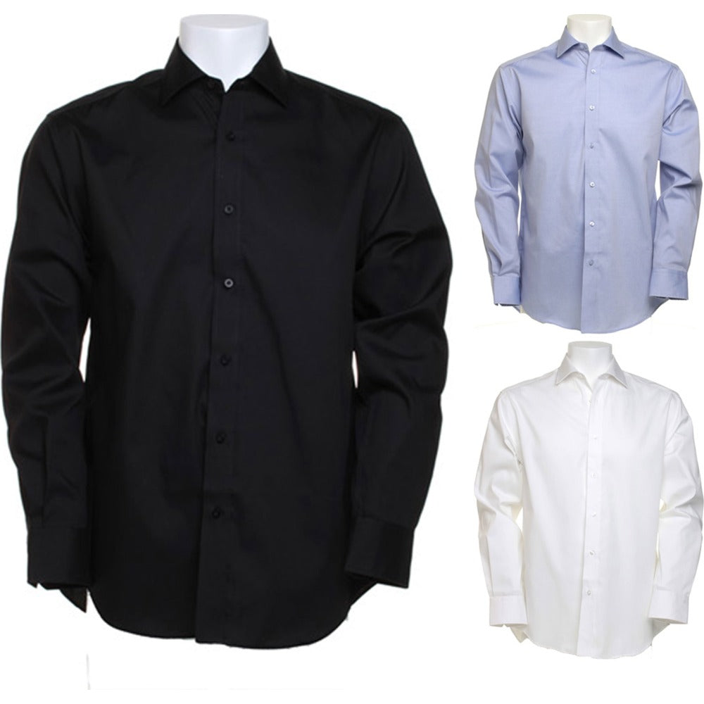 Mens Kustom Kit Superior Oxford Cotton Rich Wrinkle Free Long Sleeve Shirt