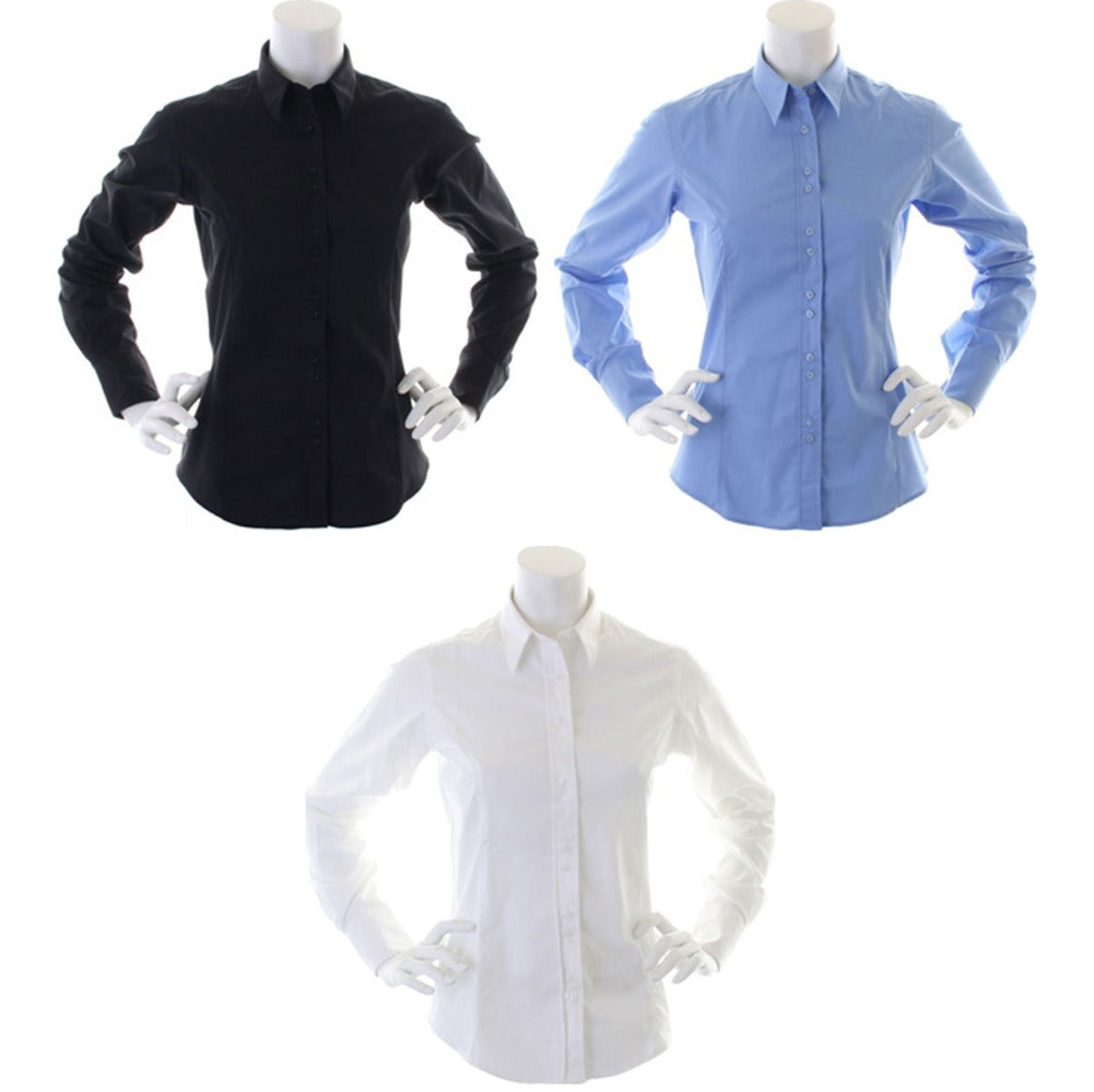 Ladies Women Kustom Kit City Business 100% Cotton Easy Iron Long Sleeve Shirt