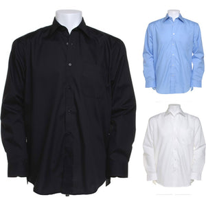 Mens Kustom Kit Business Poly Cotton Long Sleeve Shirt Tail Bottom