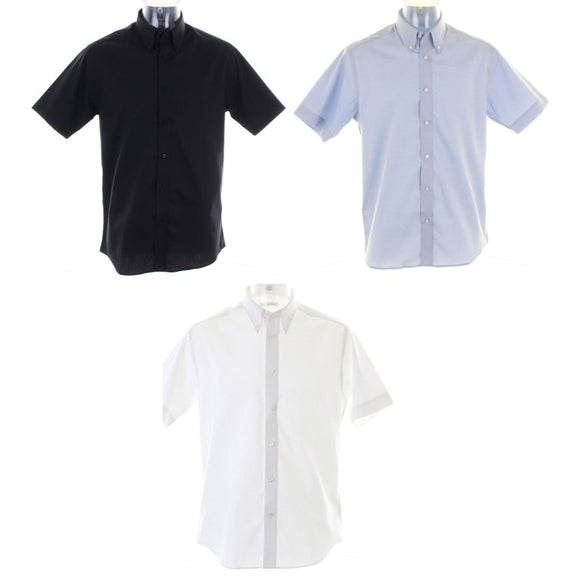 Mens Kustom Kit Tailored Fit Premium Oxford Cotton Rich Short Sleeve Shirt