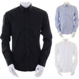 Mens Kustom Kit Tailored Fit Premium Oxford Cotton Rich Long Sleeve Shirt