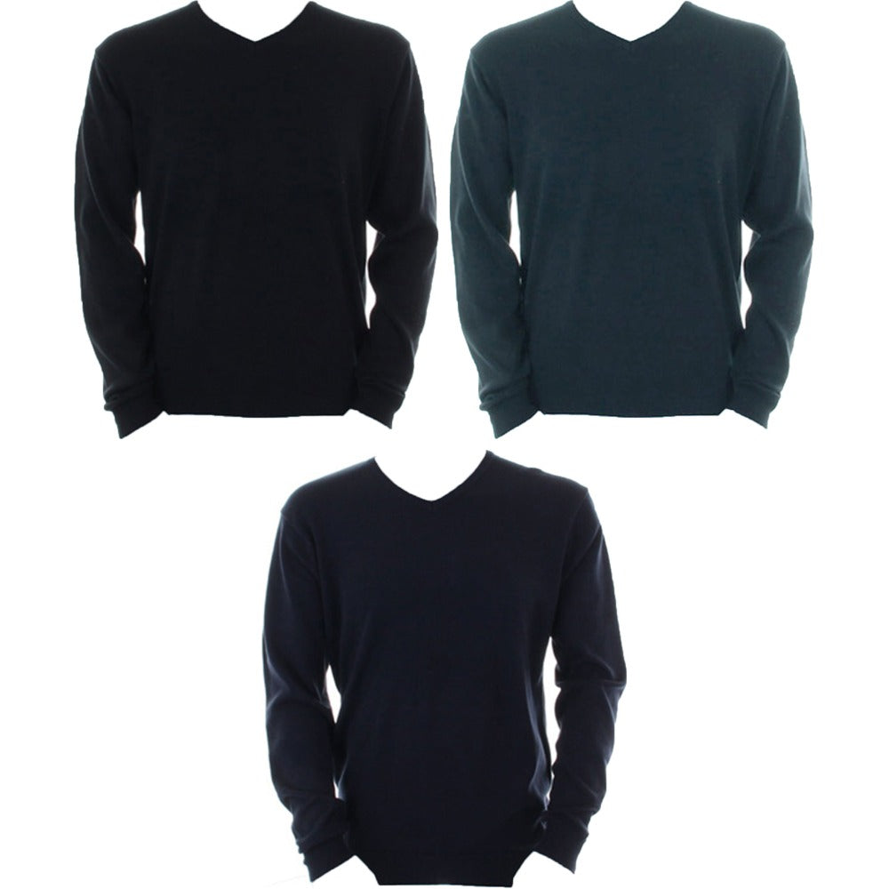 Mens Kustom Kit Arundel V Neck Long Sleeve Warm Sweater Top