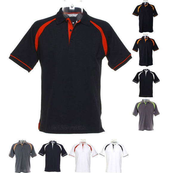Mens Kustom Kit Oak Hill Polo Neck Collar 100% Cotton Raglan Sleeves Shirt Top