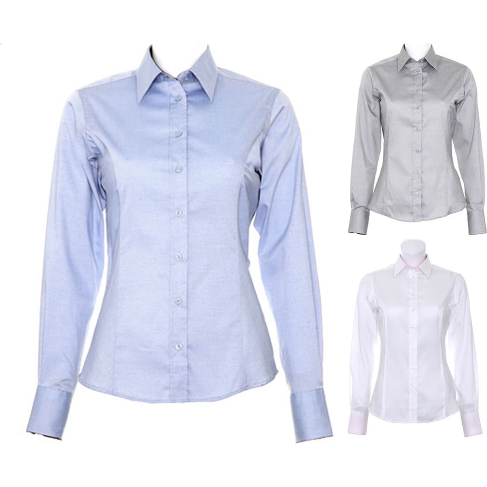 Ladies Women Kustom Kit Contrast Premium Oxford Long Sleeve Cotton Rich Shirt