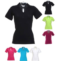 Ladies Women Kustom Kit Sophia Cotton Rich V Neck Polo Collar Shirt Top