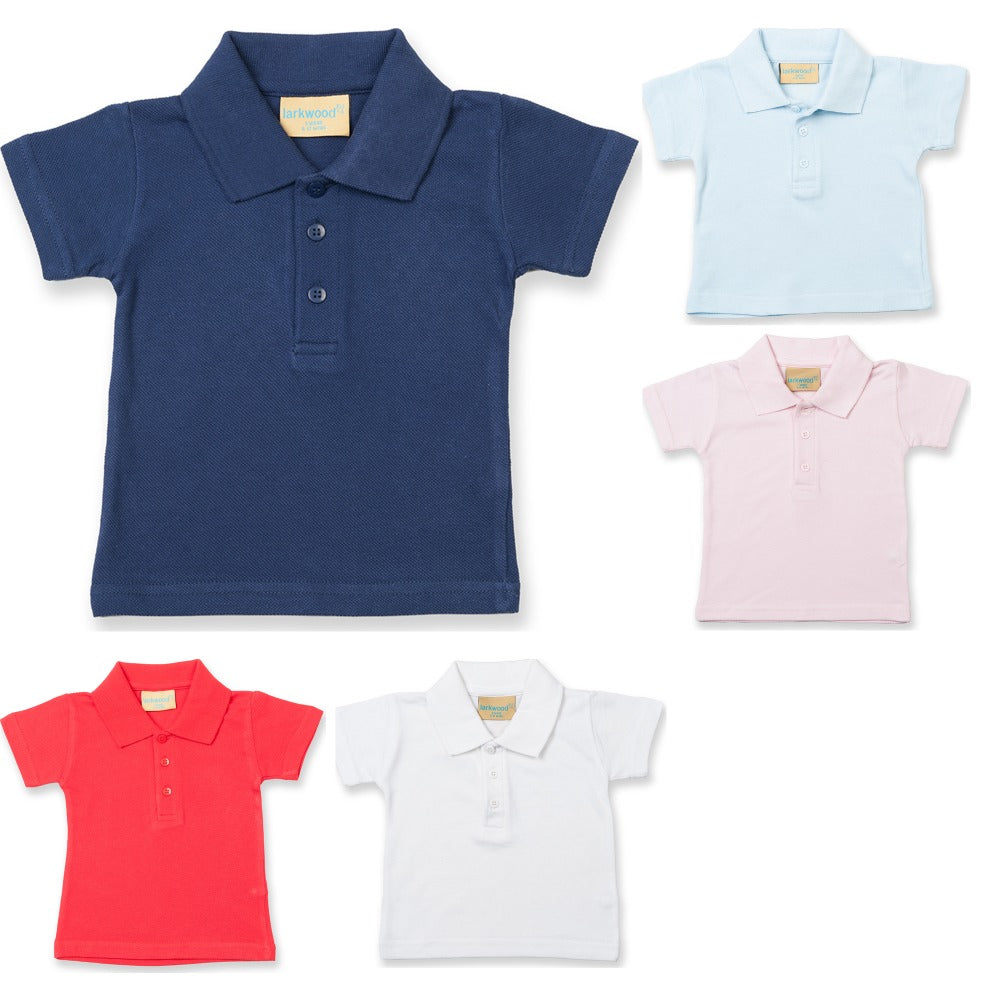 Baby Toddler Larkwood 100% Cotton Polo Neck Collar Short Sleeve Shirt Top