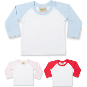 Baby Toddler Child Larkwood Cotton Plain Colour Long Baseball Sleeve T Shirt Top