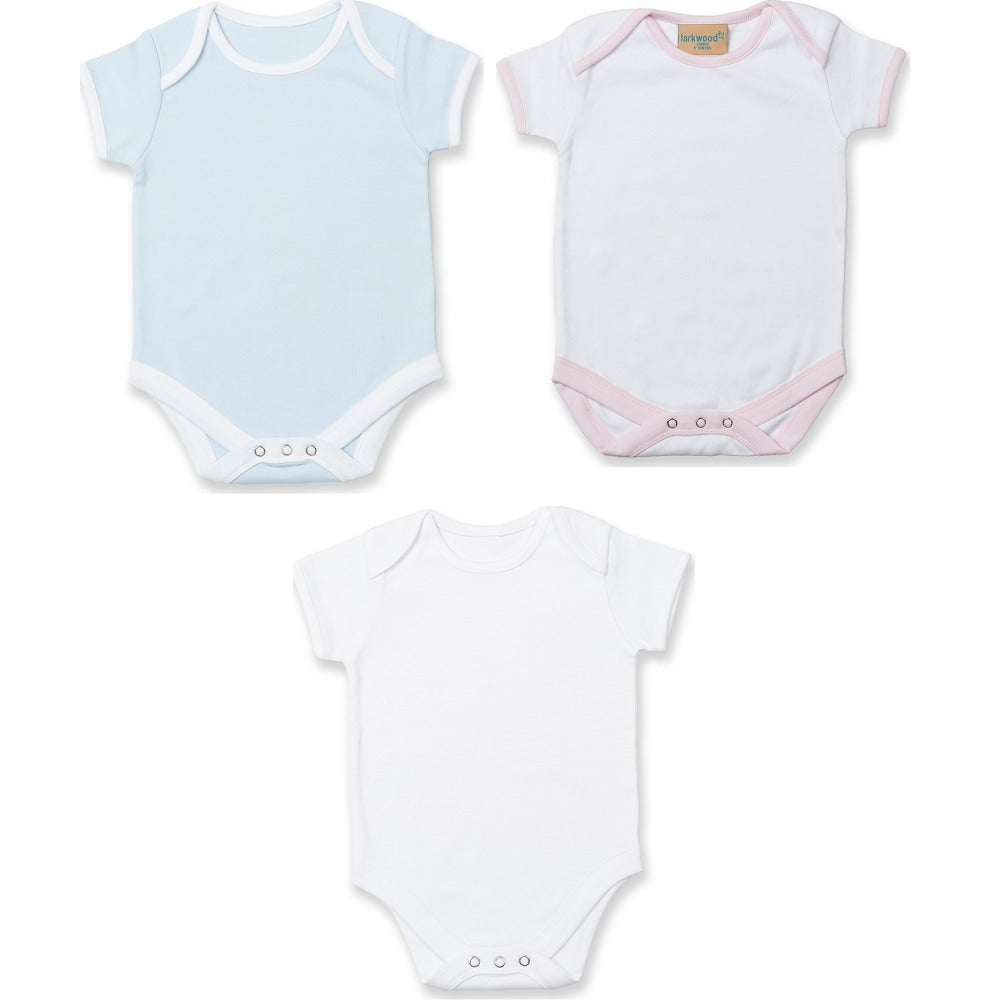 773a369cedfb ... Baby Larkwood Short Sleeve 100% Cotton Full All in One Contrast Body  Suit ...