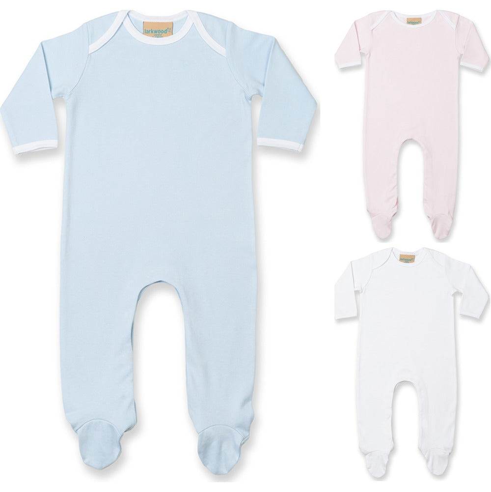 Baby Larkwood Long Sleeve 100% Cotton White All in One Contrast Sleep Suit