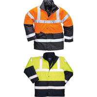 Mens Portwest Hardwearing Hi Vis Visbility Orange Traffic Jacket Coat