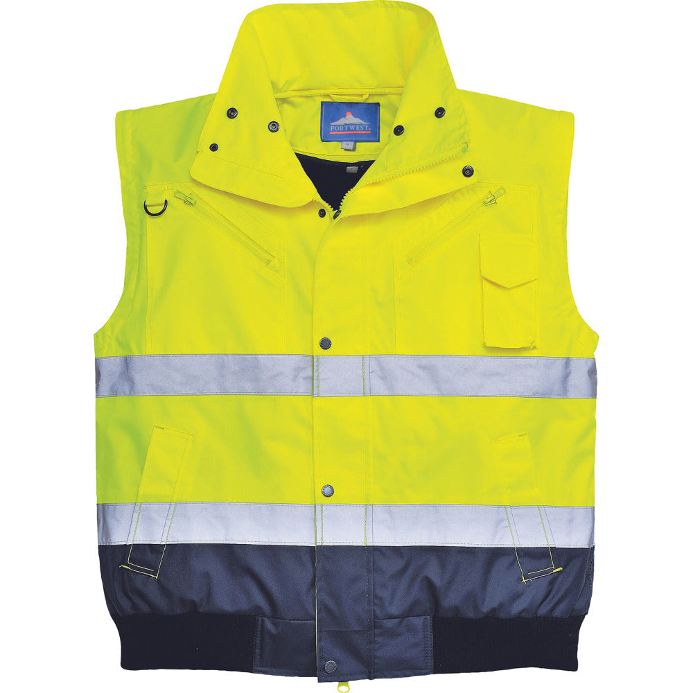 Mens Portwest 3-in-1 Winter Warm High Vis Visibility Bomber Jacket Coat (C465)