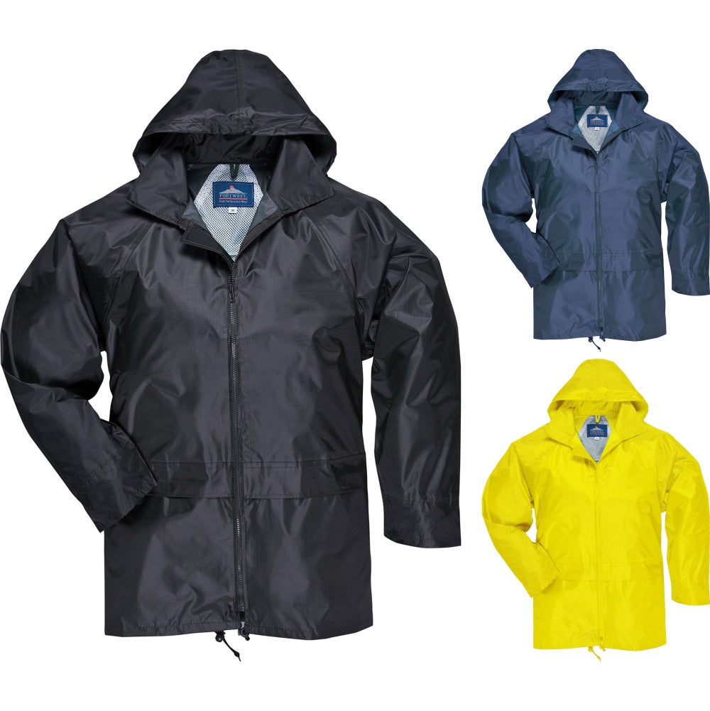 Adult Mens Portwest Colour Classic Rain Waterproof Jacket Coat (S440)