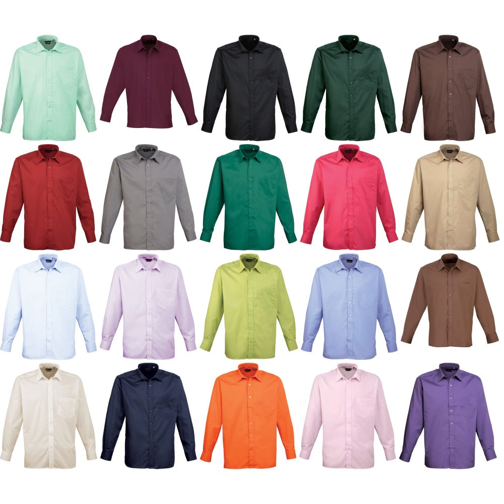 Premier Mens Long Sleeve Plain Colour Poplin Formal Shirt