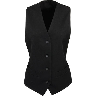 Ladies Women Premier Contemporary Hospitality Polyester Satin Back Waistcoat