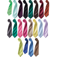 Mens Premier Narrow Blade Plain Colour Lustrous Satin Tie