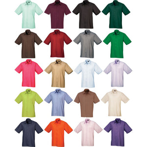 Mens Premier Plain Weave Colour Formal Short Sleeve Easycare Poplin Shirt