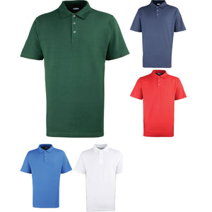 Mens Premier Heavy Weight Stud Pique Polo Neck Collar Shirt Top