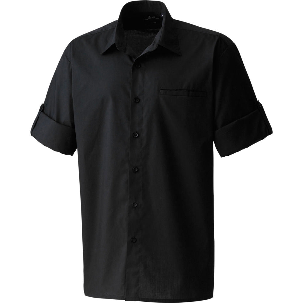 Mens Premier Roll Sleeve Cotton Rich Poplin Shirt